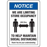 Notice Limiting Store Occupancy Social Distancing Signs