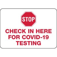 Check in Here for COVID-19 Testing Sign