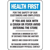 If You Are Sick With A Cough Or Fever Do Not Enter Store Sign