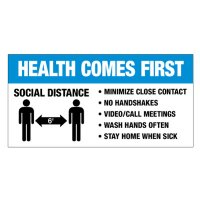 Temporary Social Distance Floor Signs - Health Comes First