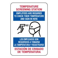 Bilingual Temperature Screening Station Sign