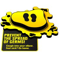 3D Floor Marker - Prevent the Spread of Germs - Yellow