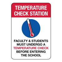 Faculty & Students Temperature Check Station Sign