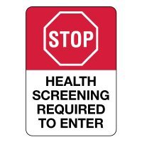 Stop Health Screening Required to Enter Sign