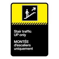 Bilingual CSA Sign - Stair Traffic Up Only