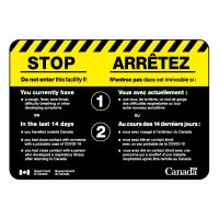 Bilingual CSA Sign - Do Not Enter If You Have COVID Symptoms With Canadian Federal Government Logo
