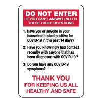 Do Not Enter COVID Screening Sign
