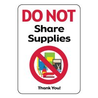 Do Not Share Supplies Sign