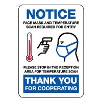 Notice Face Mask And Temperature Check Required Sign