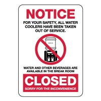 Notice Water Coolers Closed Sign