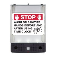 Seton Safety Sign Alerter Kit - Wash Or Sanitize Hands Before And After Using Time Clock