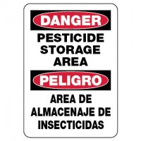 Bilingual Danger Sign: Pesticide Storage Area