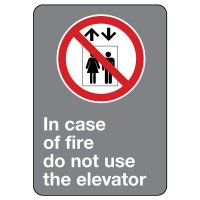 CSA Safety Sign - In Case of Fire Do Not Use Elevator