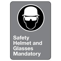 CSA Safety Sign - Safety Helmet and Glasses Mandatory