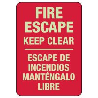 Bilingual Fire Escape Keep Clear Photoluminescent Sign