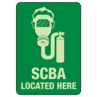 SCBA Located Here Photoluminescent Sign