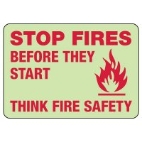 Stop Fires Before They Start Photoluminescent Sign