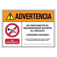 Advertencia: No Desconecte El Refrigerador Nicorte El Circuito - Contiene Vacunas