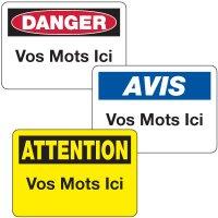 Semi-Custom French Safety Signs