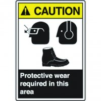 ANSI Caution Sign - Protective Wear Required