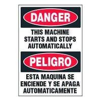 Bilingual ToughWash® Adhesive Signs - Danger Machine Starts