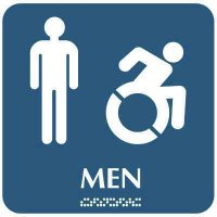 Men's Restroom Sign w/ Dynamic Accessibility Graphic