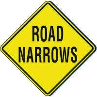 Reflective Warning Signs - Road Narrows