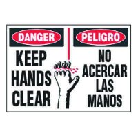ToughWash® Labels - Bilingual Keep Hands Clear (With Symbol)