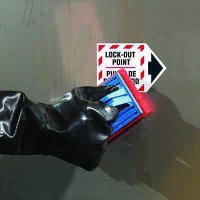 ToughWash® Labels - Bilingual Lockout Point (With Arrow)