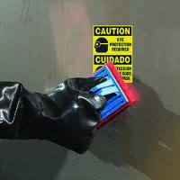ToughWash® Labels - Caution Eye Protection (Bilingual)
