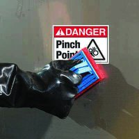 ToughWash® Labels - Danger Pinch Point (With Symbol)