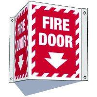 3-Way Fire Door Sign (Downward Arrow)