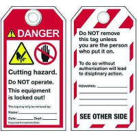 ANSI Cutting Hazard Warning Tags