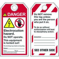 ANSI Electric Hazard Lockout Tags