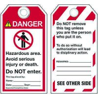 ANSI Hazardous Area Warning Tags