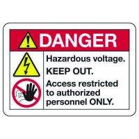 ANSI Z535 Safety Signs - Danger Hazardous Voltage Keep Out