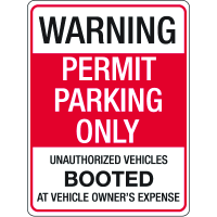 Auto Boot Warning Signs- Parking Permit Only