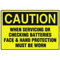 Battery Charging Safety Signs - Caution When Servicing Or Checking Batteries