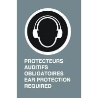 Bilingual CSA Signs - Protecteurs Auditifs Obligatoires Ear Protection Required