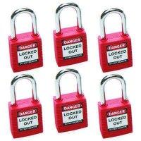 Brady® Safety Padlocks - Keyed Differently (Set of 6)