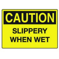 Fall Hazard Signs - Caution Slippery When Wet