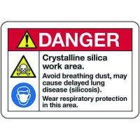 Danger Crystalline Silica -Dust Hazard Signs