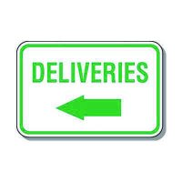 Directional Parking Signs - Deliveries (Left Arrow)