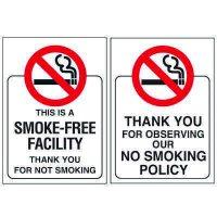 Double-Sided No Smoking Window Sign - Smoke Free Facility