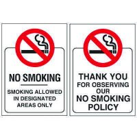 Double-Sided No Smoking Window Signs - NO SMOKING