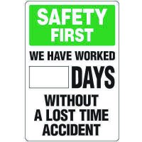 Dry Erase Safety Tracker Sign - Days Without A Lost Time Accident