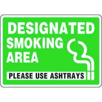 Eco-Friendly Sign - Designated Smoking Area Please Use Ashtrays