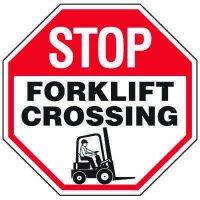Forklift Safety Signs - Stop Forklift Crossing With Forklift Symbol
