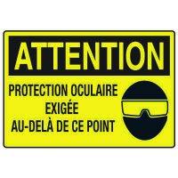 Enseignes de Sécurité - Attention Protection Ocluire Exigee