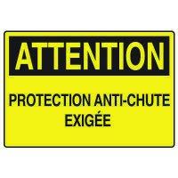 Enseignes de Sécurité - Attention Protection Anti-Chute Exigée